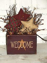 Primitive Welcome Star Box with Homespun stars and Rice Light Strand