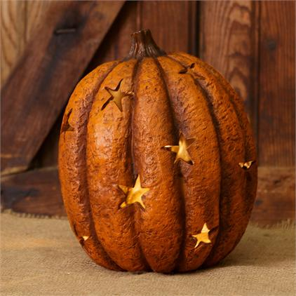 Poly Resin Pumpkin with star cutouts and clip light