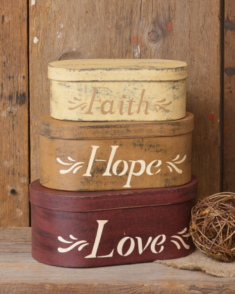 Primitive Faith Hope Love Nesting boxes