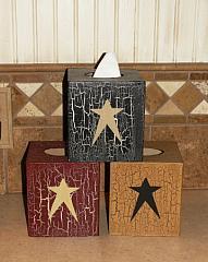 Primitive Hand painted Crackled Star Tissue Holder