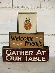 Welcome Friends Pineapple Primitive Stacking Blocks