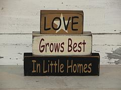 Love Grows Best In Little Homes Primitive Stacking Block Set