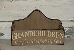 Grandchildren Complete The Circle of Love Primitive Wood Box