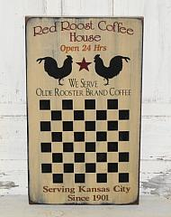 Red Rooster Coffee House Primitive Wood Checkerboard
