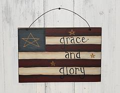 Grace and Glory Primitive Americana Flag Wall Plaque