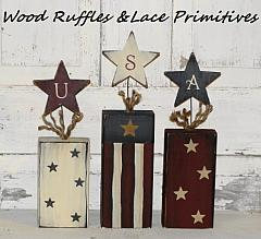 Primitive Wood Firecrackers with USA letters - Sold set/3