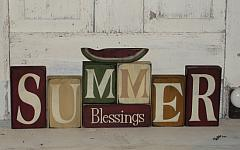Primitive Summer Blessings Tall Block Set with Watermelon