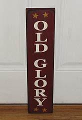 Primitive Olde Glory Americana Vertical Wood Sign with Stars