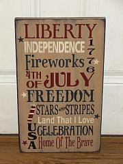 Liberty Independence Fireworks 4th of July Patriotic Americana Primitive Wood Sign