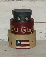 Primitive Old Glory with Flag and Stars Round Nesting Boxes set/3