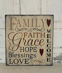 Family Faith Grace Hope Blessings Love Primitive Wood Typography Sign