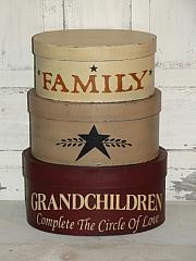 FAMILY-Grandchildren Complete the Circle Of Love Oval Handpainted Nesting Boxes-Set/3