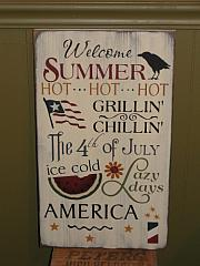 Welcome Summer Primitive AmericanaTypography Wood Sign