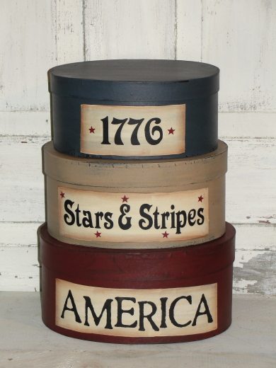 Primitive Americana / Summer Nesting Stacking  Boxes