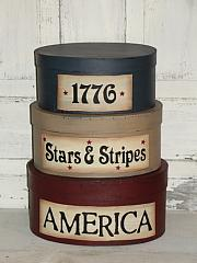 Americana Stacking Boxes, 1776, Stars and Stripes, AMERICA oval set/3