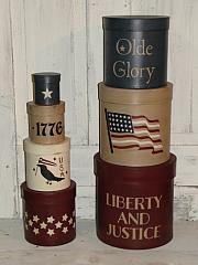 Primitive Americana Stacking Boxes- 1776 Olde Glory Liberty and Justice with Crow and Stars - Round set/7