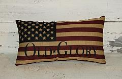 Primitive Americana Tea-stained Flag Pillow
