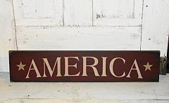 Patriotic America with Stars Primitive Wood Sign