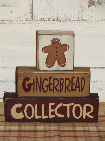 Gingerbread Collector Primitive Wood Stacking Blocks
