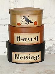 Harvest Blessings with Crow and Pumpkins Hand Painted Primitive Oval Stacking Boxes -Set/3