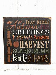 Autumn Greetings Fall Typography Primitive Wood Sign/Black background