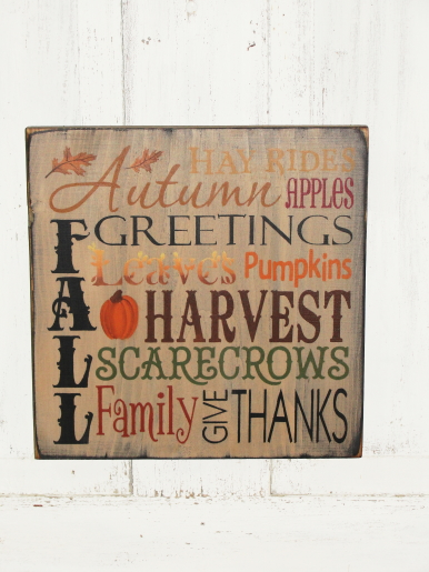 Autumn Greetings Fall Typography Primitive Wood Sign/ Tan background