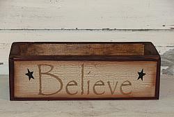 Believe Primitive Wood Crackled Finish Box