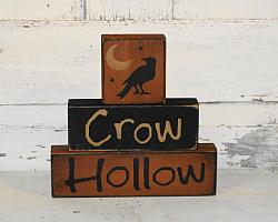 Crow Hollow Primitive Wood Stacking Blocks with Moon and Crow