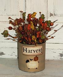 Sheep and Pumpkin Harvest Primitive Fall Floral Arrangement