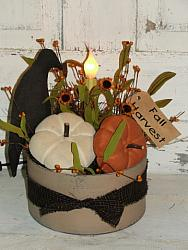 Primitive Crow and Pumpkin Electric Light
