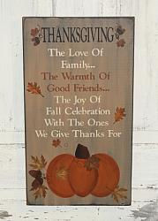 Thanksgiving Primitive Wood Sign/Two Tone Lettering
