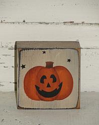 Pumpkin Jack-O Face Block with Stars