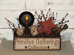 Primitive Gatherings Collector Primitive Wood Crackled Finish Box Light Arrangement-Black