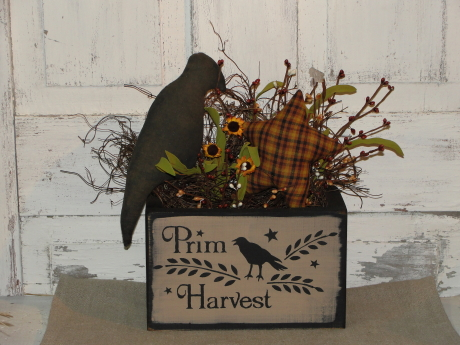 Prim Harvest Box Arrangement with Lighting