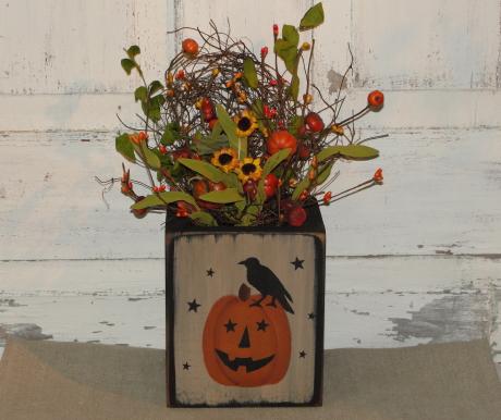 Jack o face Pumpkin Box Arrangement with stars