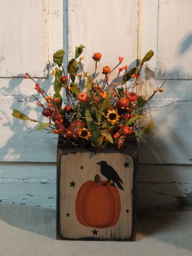 Pumpkin and Crow Box Arrangement with stars