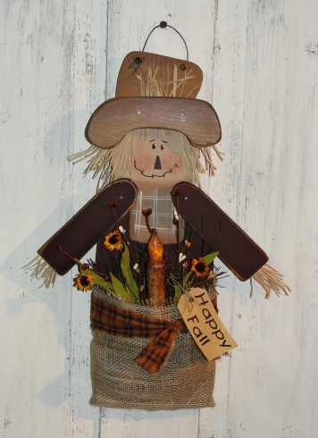 Hanging Scarecrow with Burlap pouch and grungy taper light