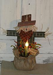 Standing Scarecrow with Burlap Pouch with Electric Light