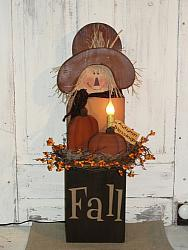 Primitive Fall Wood Scarecow Box With Light And Pumpkins / Brown