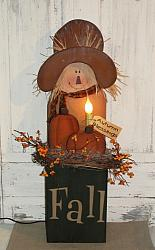 Primitive Fall Wood Scarecow Box With Light And Pumpkins / Green