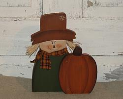 Primitive Fall Wood Scarecrow And Pumpkin Sitter
