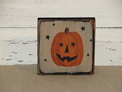 Jack O Face Pumpkin Block with Stars