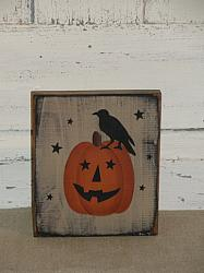 Jack O Face Pumpkin Block with Crow and Stars