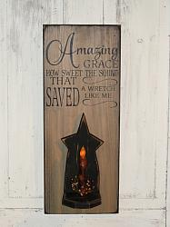 Amazing Grace Sign with Wood Star Light