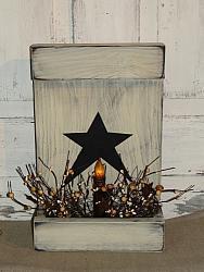 Primitive Star Box Wood Light Arrangement