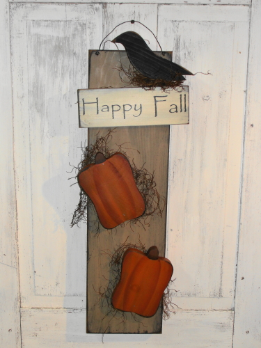 Happy Fall Crow and Pumpkin Wall Board