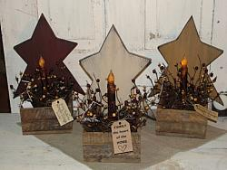 Primitive Wood Star Lath Light - Battery taper