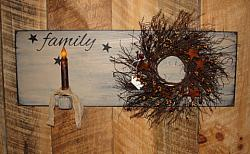 Family Wall Board with Wreath and Grungy Taper Light