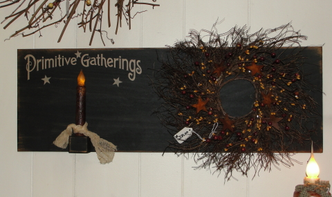 Primitive Gatherings Wall Board with Wreath and Grungy Taper Light