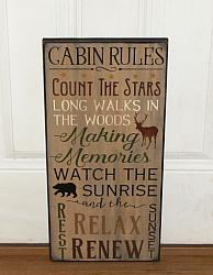 Cabin Rules Primitive Wood Lodge Sign